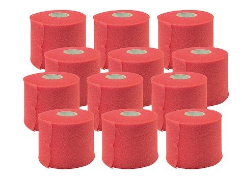 Förberedande Tejp, 7cm x 27,4 m, Röd, (12 st).